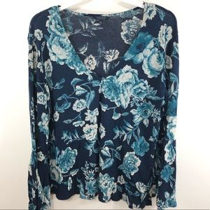 Lucky Brand Womens Blue Floral Top Blouse Size L